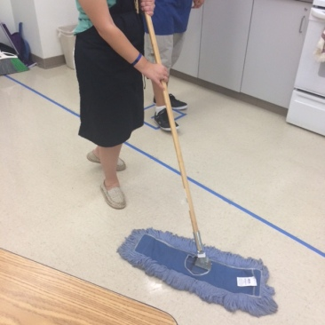 appropriate way to sweep the floors