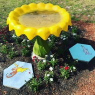 finished bird bath at school